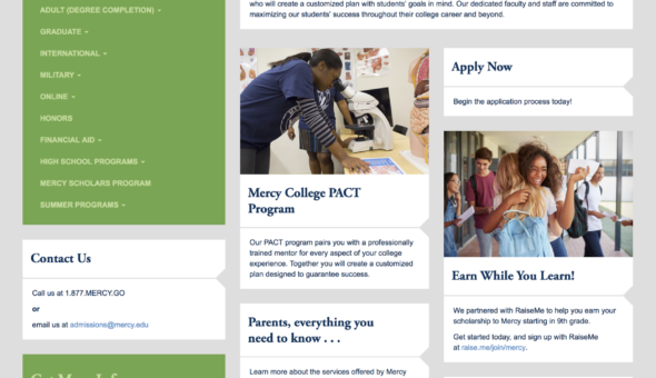 Mercy College no RFI Landing Page