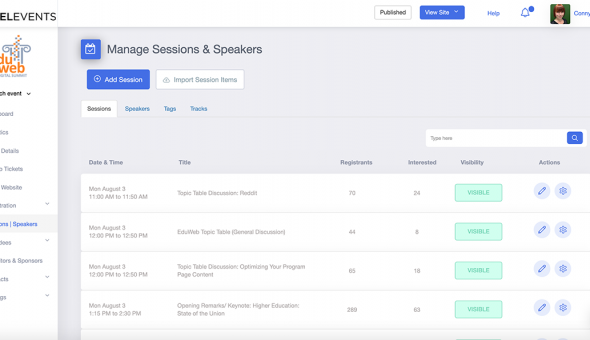 eduWeb 2020 interface