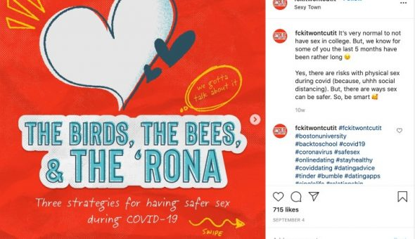 Instagram post encouraging students to be safe about coronavirus.