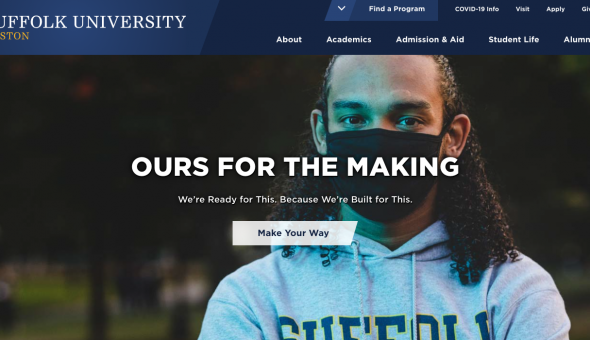 Image of a student wearing a mask on a website