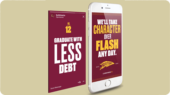 Image of two digital ads for Kutztown University about affordability and character.