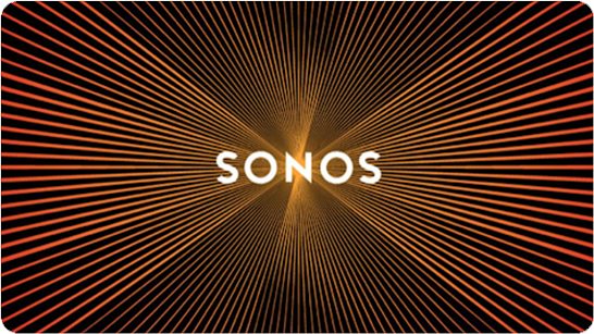 Image with soundwaves surrounding the word 'Sonos'