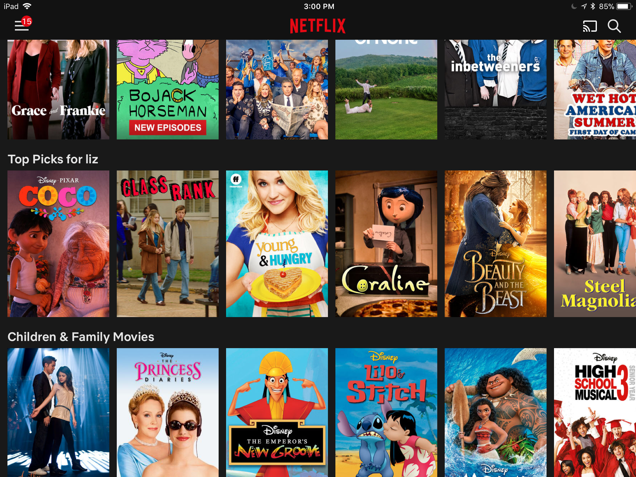 Films recommended by Netflix's personalization system. Films include Coraline, Beauty & The Best, Lilo & Stitch, among others.