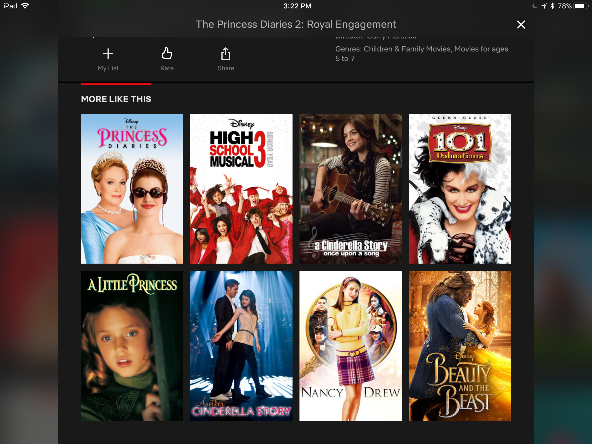 A screen of recommended films including The Princess Diaries 2, High School Musical 3, 101 Dalmations, and others selected by Netflix's personalization system