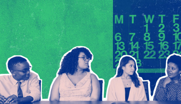 Four students sitting on a panel with a calendar behind them