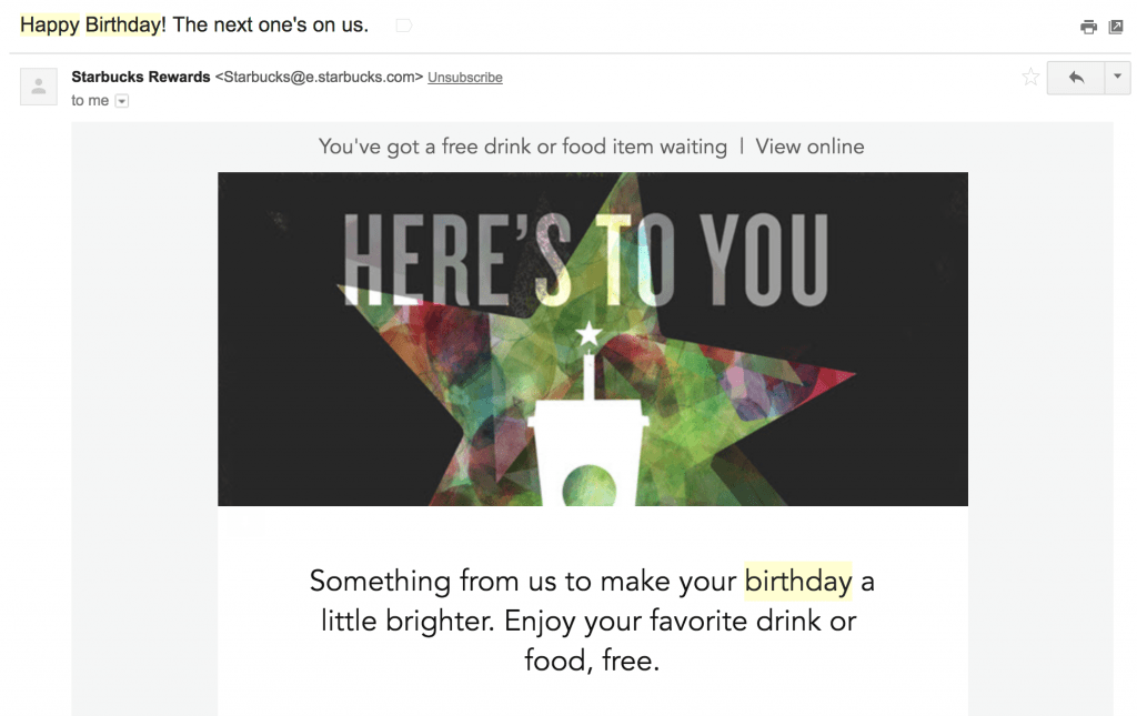 A screenshot of a Starbucks Rewards birthday email offering a free item as a time-based automated trigger offer.