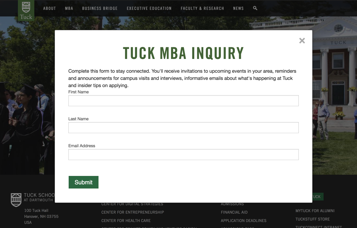 Dartmouth Tuck MBA Inquiry Pop Up