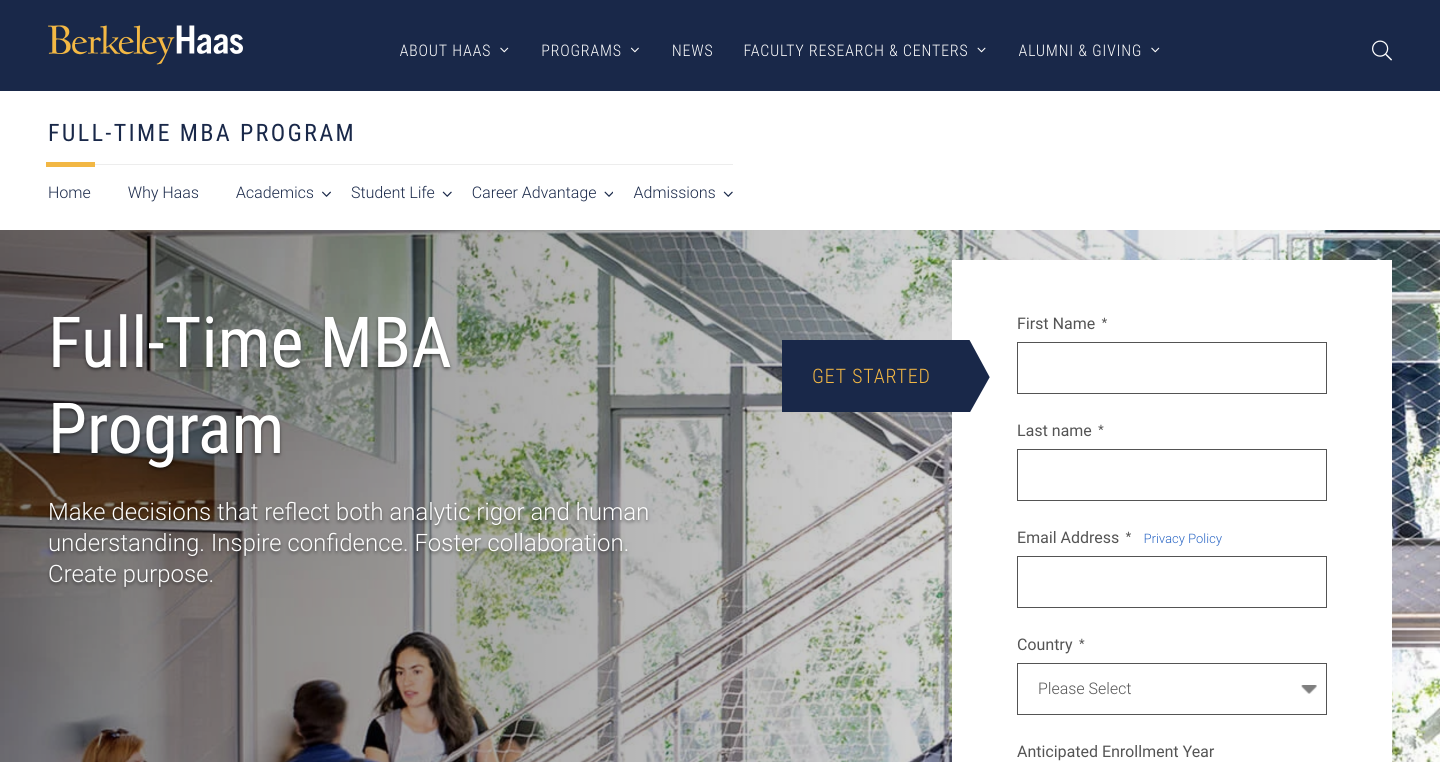 Haas MBA Landing Page