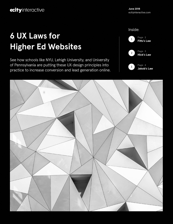 A photo of the 6 UX Laws for Higher Ed Websites eBook