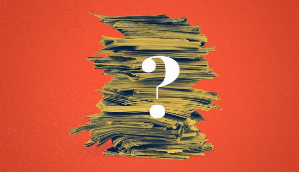 A graphic featuring a stack of papers and a question mark