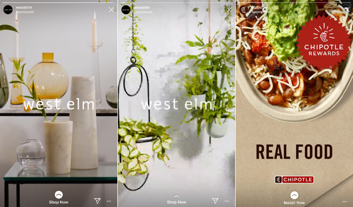 West Elm and Chipotle Instagram Story Advertisements