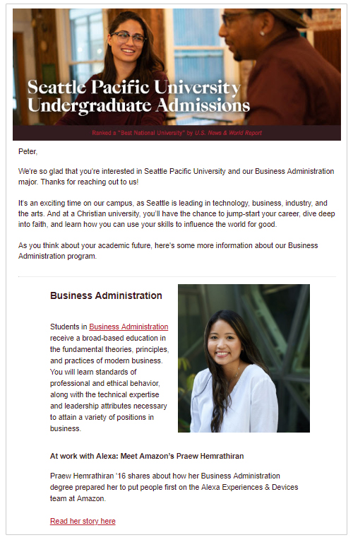 A personalized email that is part of Seattle Pacific University's welcome campaign