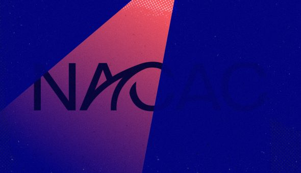 NACAC logo on pink and purple background