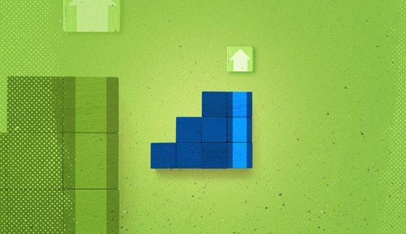 Green and blue blocks on a green background