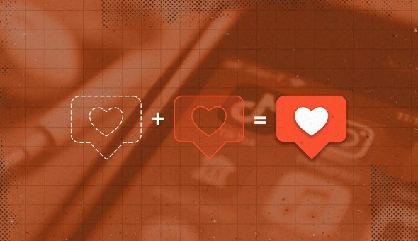 Graphic design of social media heart icons