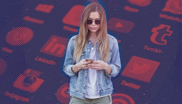 Graphic of a young woman with long hair looking at a smartphone