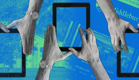 Graphic of hands holding an empty digital tablet overlaid against a colorized background