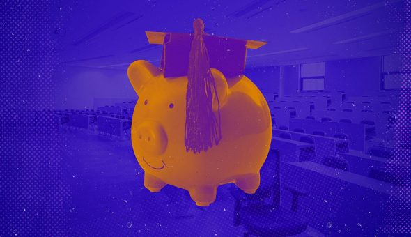 Graphic design image of a piggy bank wearing a mortarboard.