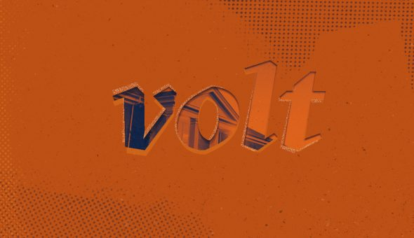 Graphic design with orange background behind the word Volt.