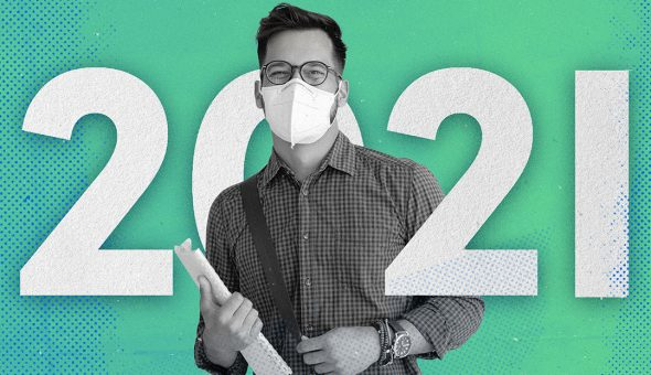 Graphic design with image of a man wearing a mask standing in front of numbers for the year 2021