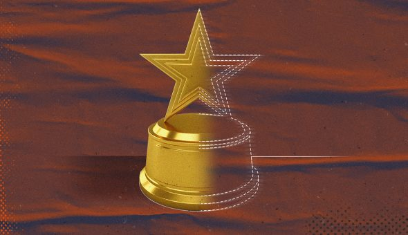 A graphic design of a trophy with a star on top