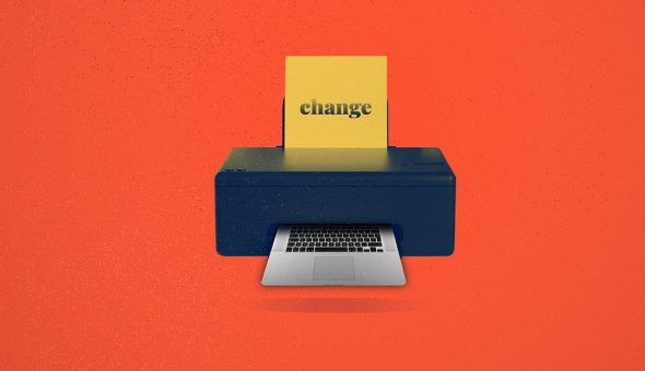 A graphic design of a printer with the word 'change' printing out a laptop keyboard.