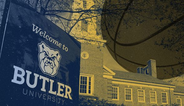 Graphic design of Butler University's bulldog logo with a campus building and a giant basketball floating in the air in the background.
