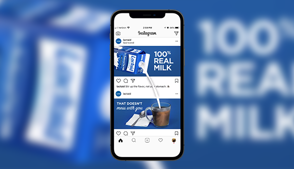 Image of a Lactaid Instagram ad that shows milk pouring from one ad, outside of the image, and into a cup in another ad space.
