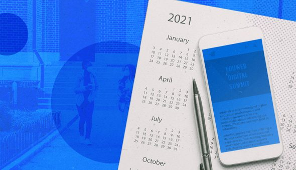 Graphic design of people walking with masks on, a calendar, and a smartphone.