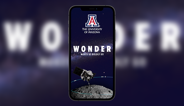 Image of an ad for the University of Arizona on a smartphone, prominently featuring the word 'Wonder.'