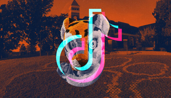Graphic design with the TikTok logo on top of a fuzzy tiger mascot, with a college campus in the background.