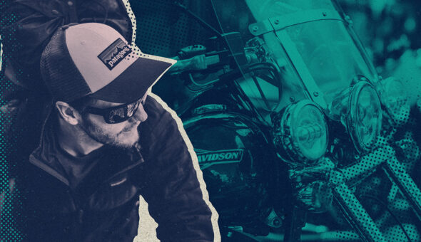 Graphic design with an image of a man in a Patagonia hat and fleece jacket, with a picture of a Harley Davidson motorcycle behind him.