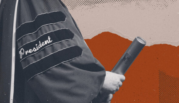 A graphic design showing someone wearing a scholarly robe with the word President stenciled on the sleeve