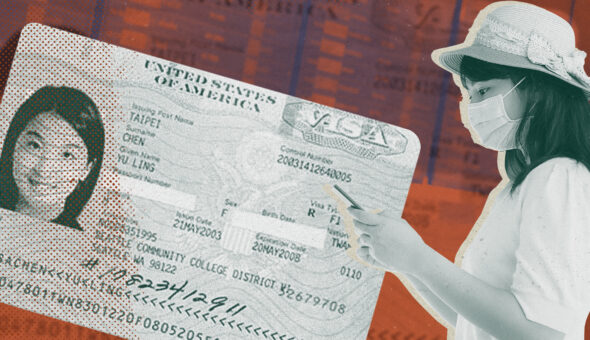 Graphic design showing an international student visa card on the left with an image of a woman in a mask looking at her smartphone on the right.