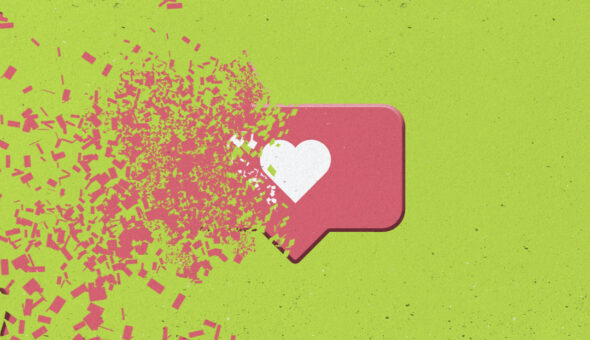 Graphic design of a white heart in a red dialogue/social media like box disintegrating against a green background.