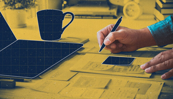 Graphic design of a hand writing on a piece of paper at a desk with a laptop and a coffee mug.