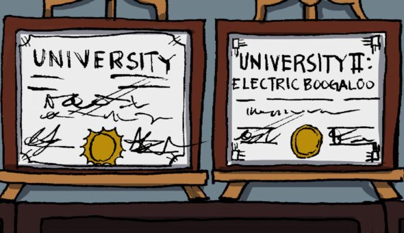 A cartoon image of two university diplomas, side by side.