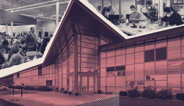 Graphic design showing a building in the foreground and, above it, people in a large room having a conversation.