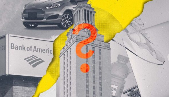 A graphic design of a higher ed building with images of an car, a bank sign, a sneaker, a laptop, and a Gatorade bottle in the background, overlaid with a question mark.