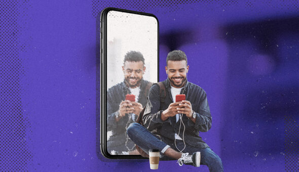Graphic design of a man looking at a smartphone, with a distorted mirror image beside him, all against a purple background.